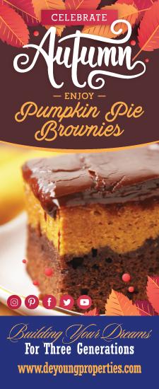 Enjoy a delicious Pumpkin Pie Brownie Recipe from DeYoung!