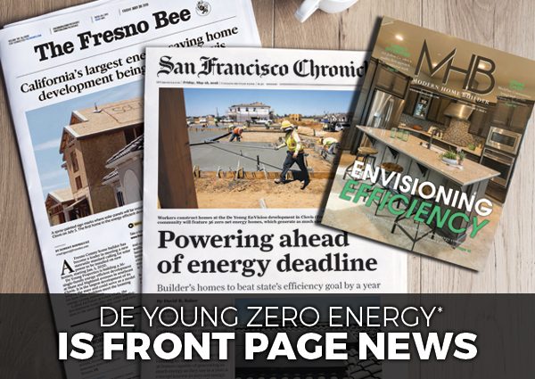 De Young Zero Energy* Is Front Page News!